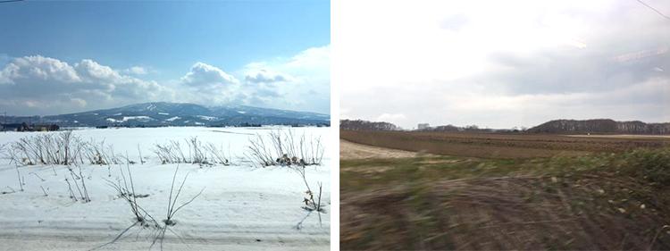 木曽谷と北海道の風景