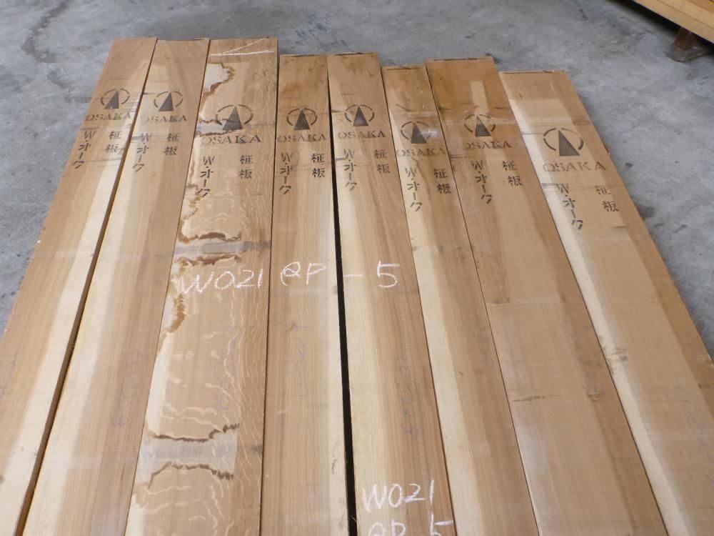 ホワイトオーク 21ミリ 柾目 自家工場製材