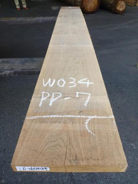 ホワイトオーク 34mm 板目板 国内挽き
