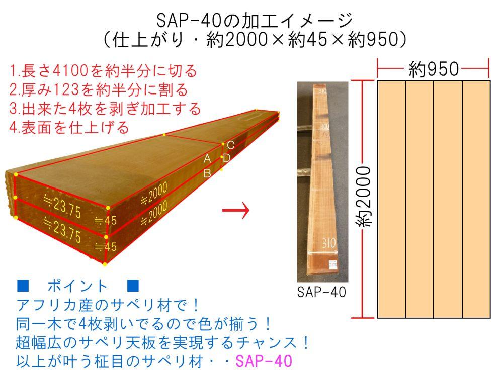 サペリ 片耳付き板 SAP-40